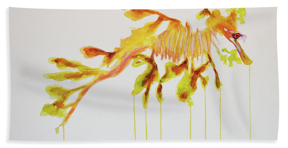 Leafy Hand Towel featuring the painting Leafy Sea Dragon by Ken Figurski