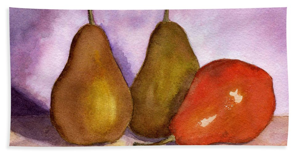 Watercolor Bath Sheet featuring the painting Leaning Pear by Lynne Reichhart