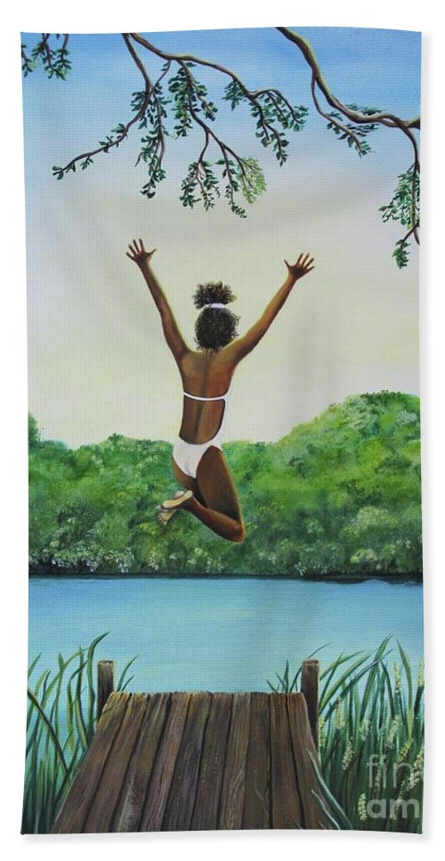 Summer Vacation Hand Towel featuring the painting Leap Of Faith by Kris Crollard