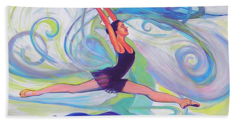 Ballerina Bath Sheet featuring the painting Leap Of Joy by Jeanette Jarmon