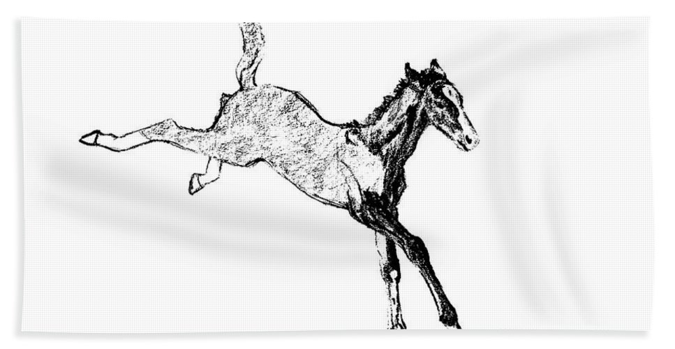 Horse Bath Sheet featuring the photograph Leaping Foal by JAMART Photography