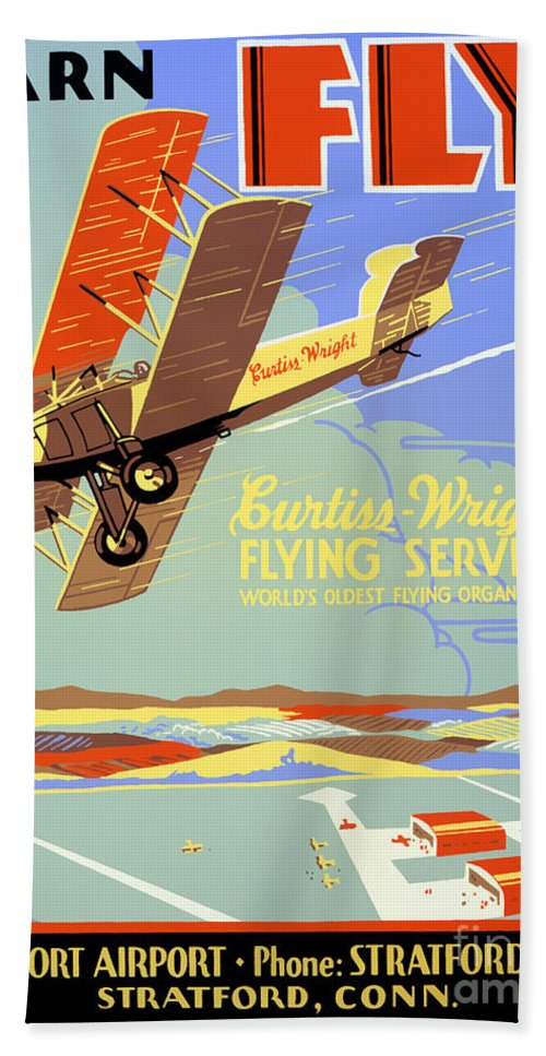 Vintage Hand Towel featuring the painting Learn To Fly Vintage Poster Restored by Vintage Treasure