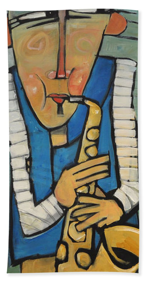 Sax Hand Towel featuring the painting Learn To Work The Saxophone by Tim Nyberg