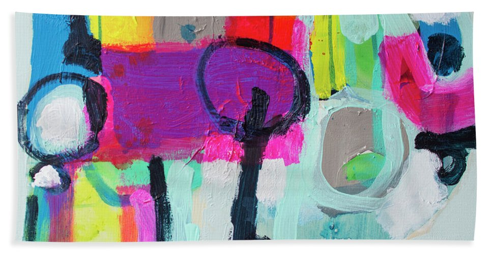Abstract Bath Towel featuring the painting Learner's Permit by Claire Desjardins