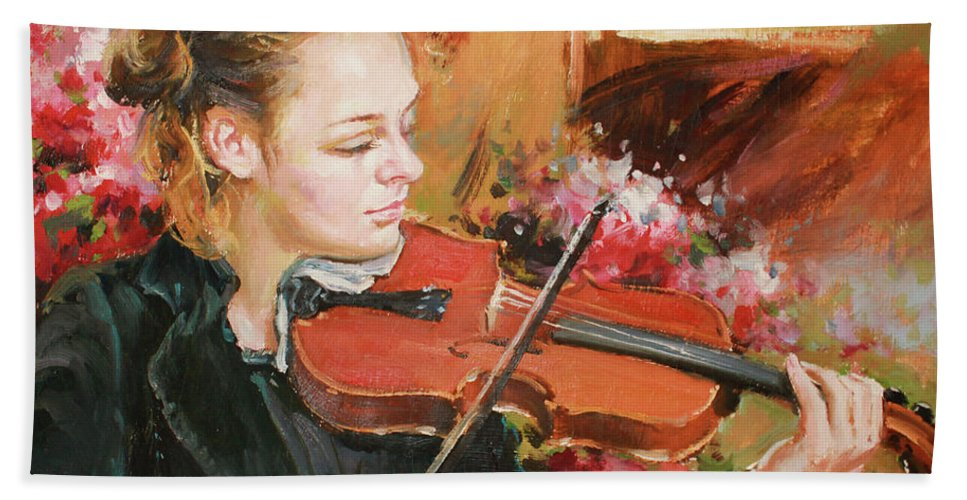 Violin Bath Towel featuring the painting Learning The Violin by Conor McGuire