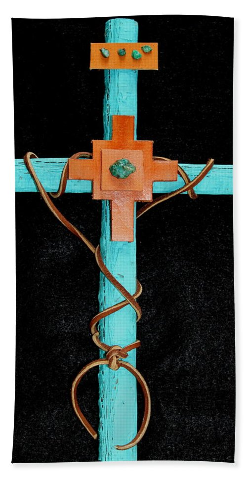 Leather Bath Sheet featuring the mixed media Leather And Stone Cross by M Diane Bonaparte