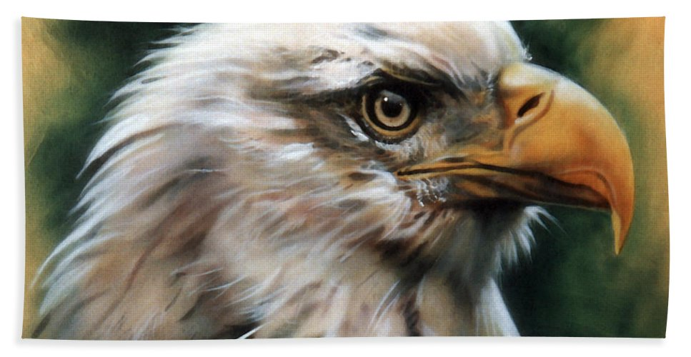 Southwest Art Hand Towel featuring the painting Leather Eagle by J W Baker