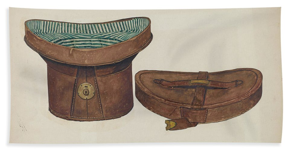 Hand Towel featuring the drawing Leather Hat Box by Clarence W. Dawson