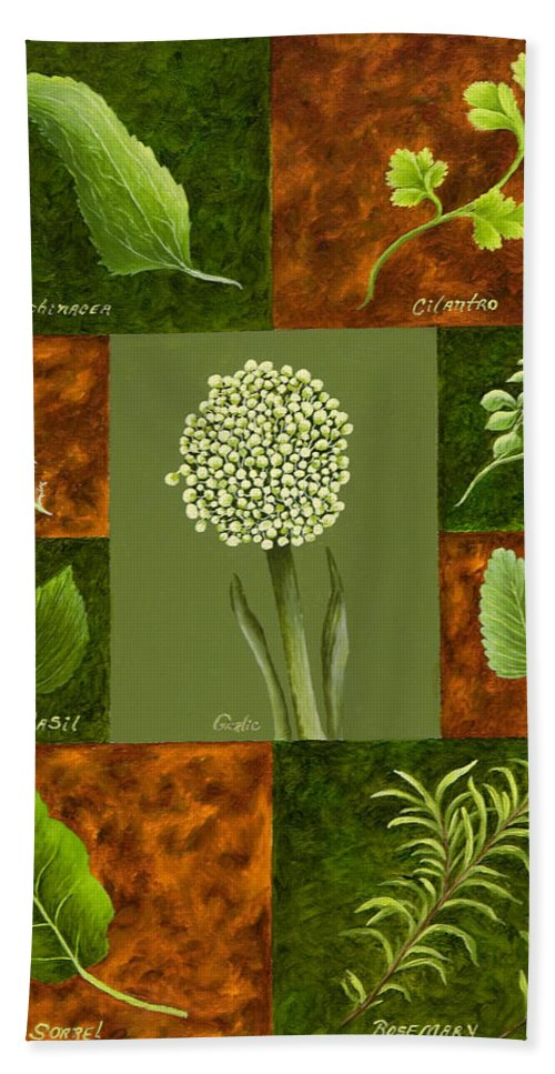 Leaves Art Hand Towel featuring the painting Leaves #2 by Mary Ann King