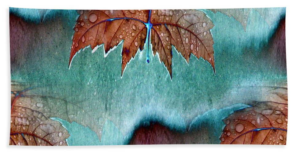 Leaves Bath Towel featuring the photograph Leaves And Rain 6 by Tim Allen
