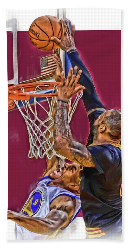 Lebron James Hand Towel featuring the mixed media Lebron James Cleveland Cavaliers Oil Art by Joe Hamilton