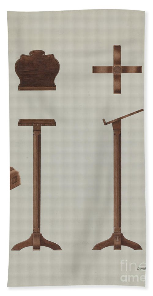 Hand Towel featuring the drawing Lectern (reading Stand) by David P Willoughby
