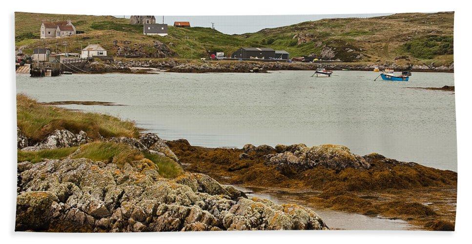Scotland Bath Sheet featuring the photograph Ledaig Harbour by Colette Panaioti