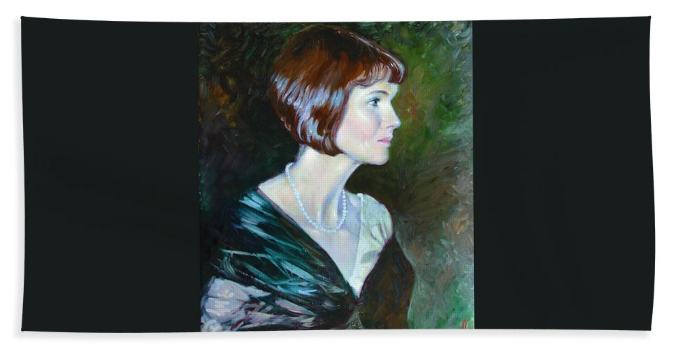 Portrait Bath Sheet featuring the painting Ledy In Green by Ylli Haruni