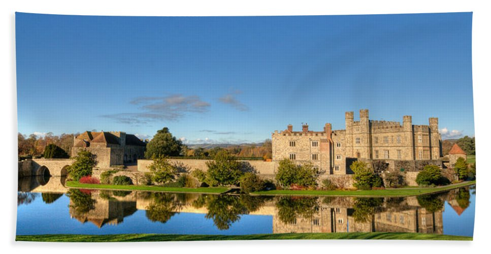 Leeds Castle Hand Towel featuring the photograph Leeds Castle And Moat Reflections by Chris Thaxter