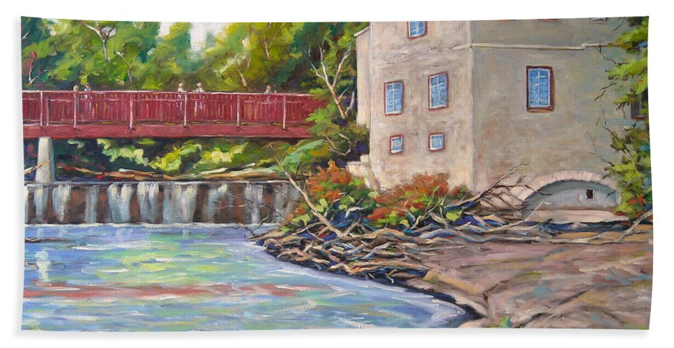 Mill Hand Towel featuring the painting Legare Mill by Richard T Pranke