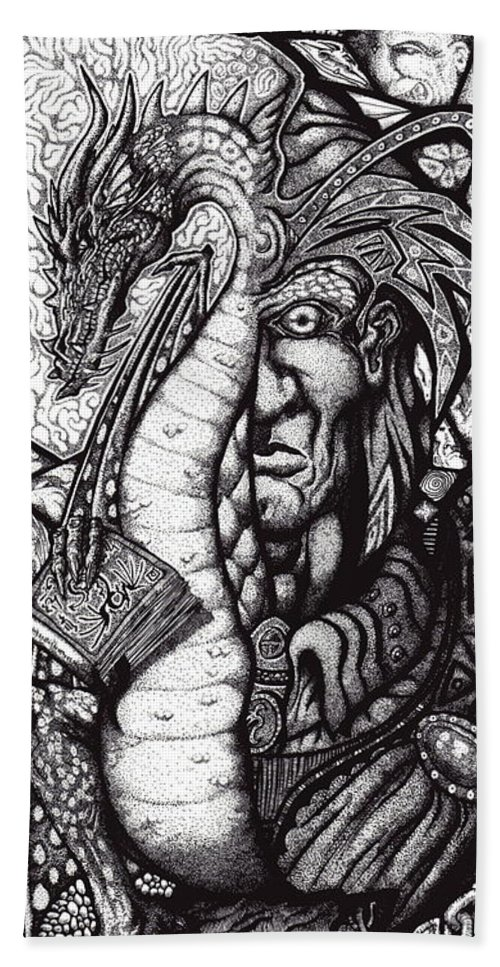 Pen And Ink Hand Towel featuring the drawing Legend by Tobey Anderson