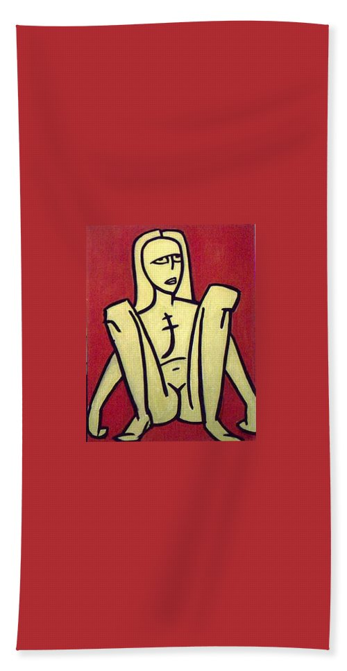 Nude Bath Towel featuring the painting Legs by Thomas Valentine