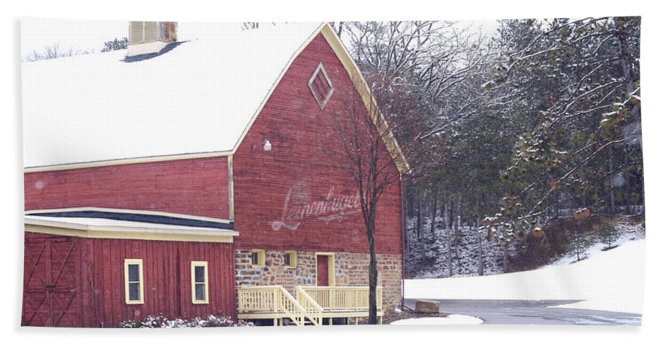 Barn Bath Towel featuring the photograph Leinie by Tim Nyberg