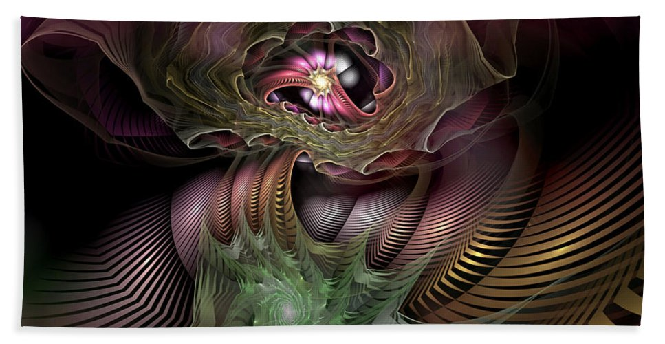 Abstract Hand Towel featuring the digital art Leitmotif Number Four by Casey Kotas