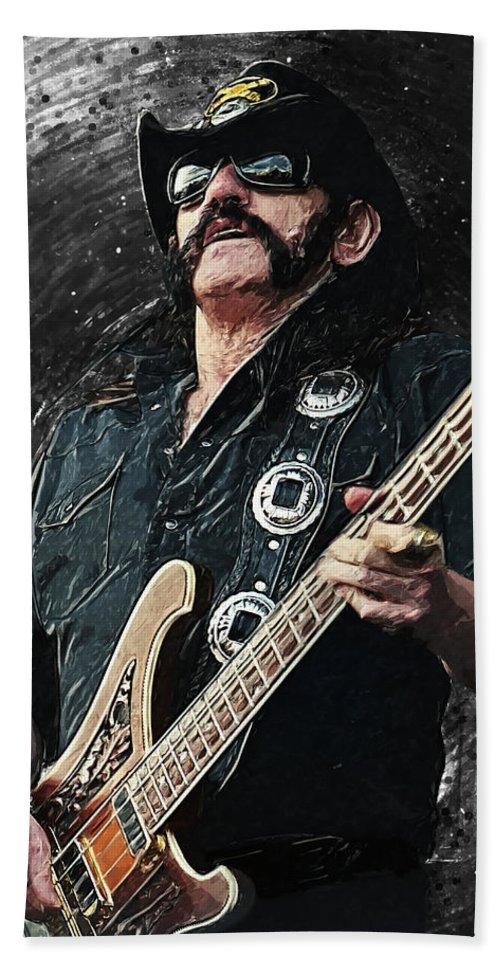 Lemmy Hand Towel featuring the digital art Lemmy by Zapista OU
