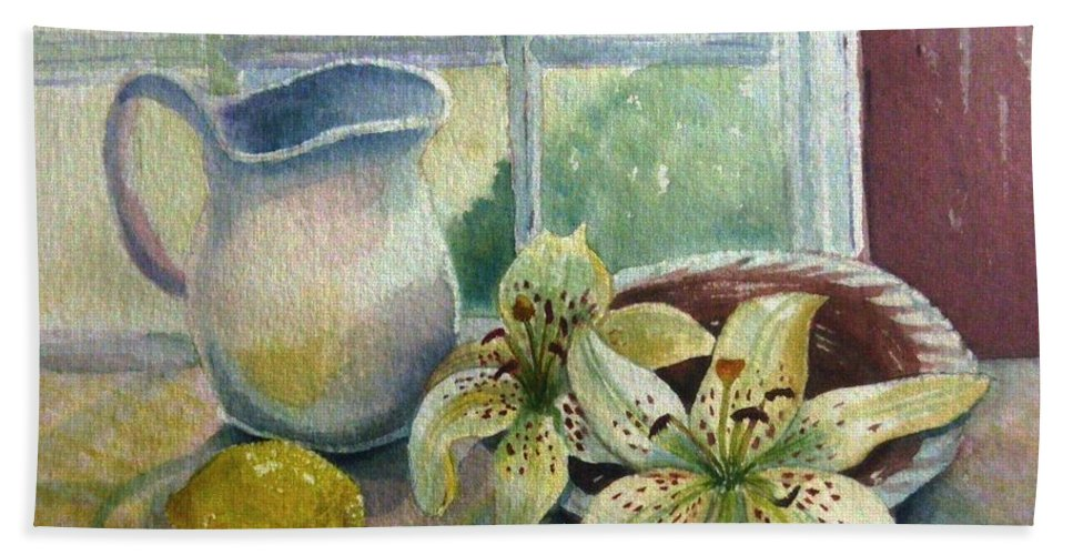 Still Life Bath Sheet featuring the painting Lemon And Lillies by Marilyn Smith