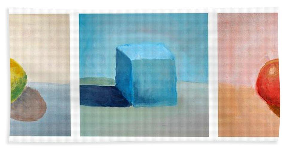Lemon Hand Towel featuring the painting Lemon Cube Sphere by Michelle Calkins