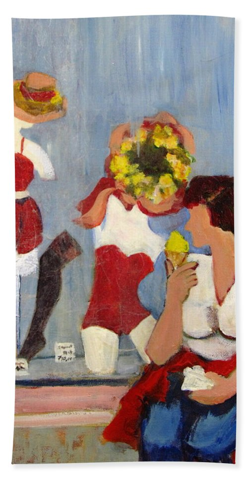 Woman With Ice Cream Hand Towel featuring the painting Lemon Eis by Betty Pieper