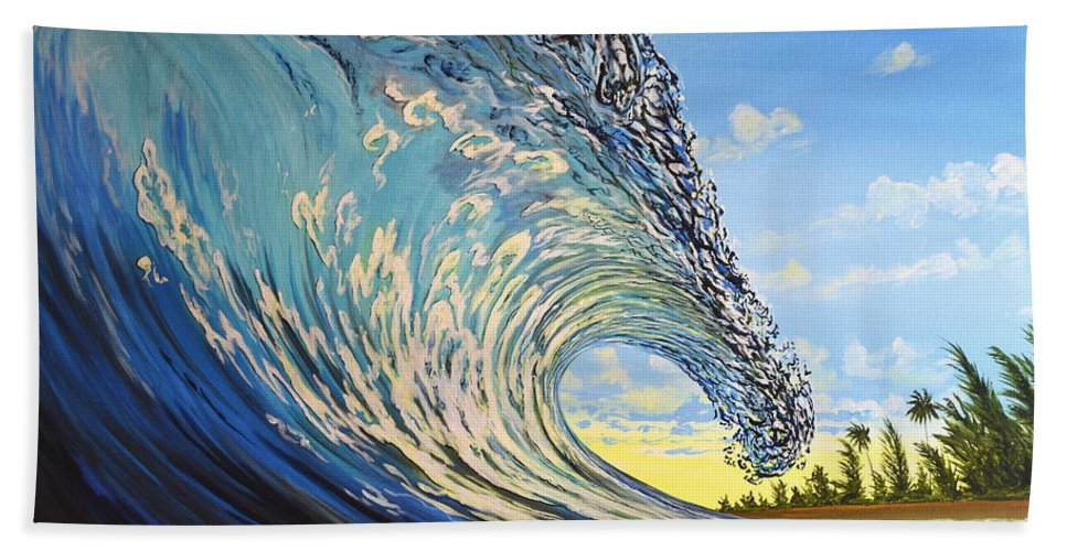 Surfart Hand Towel featuring the painting Lemon Joy by Marty Calabrese