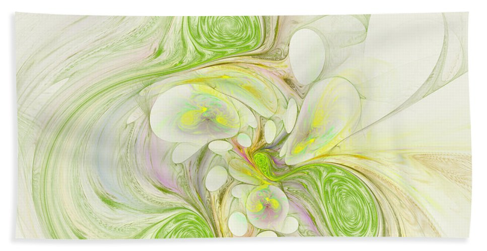 Digital Bath Sheet featuring the digital art Lemon Lime Curly by Deborah Benoit