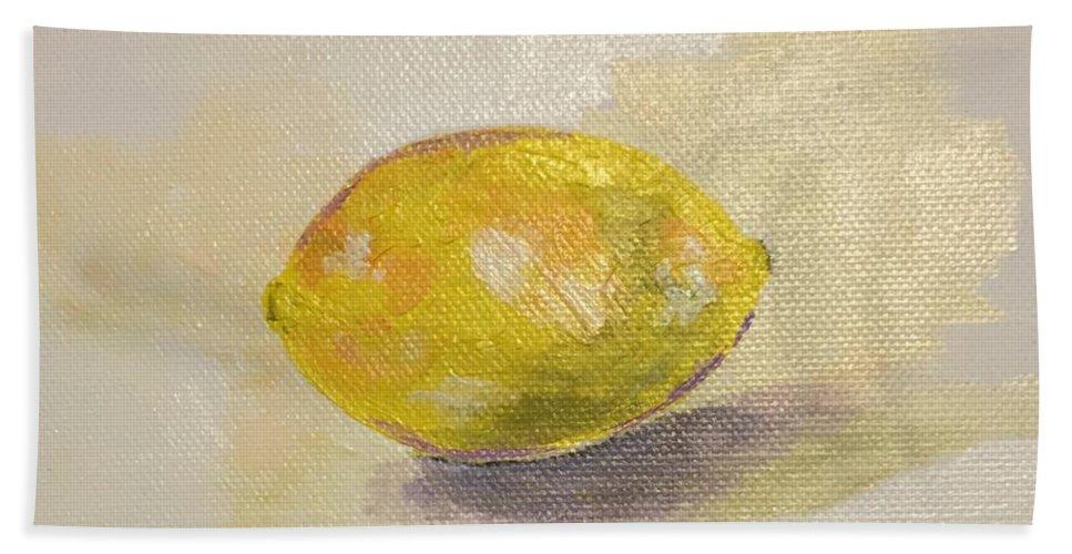 Lemon Bath Sheet featuring the painting Lemon by Sarah Jane Thompson