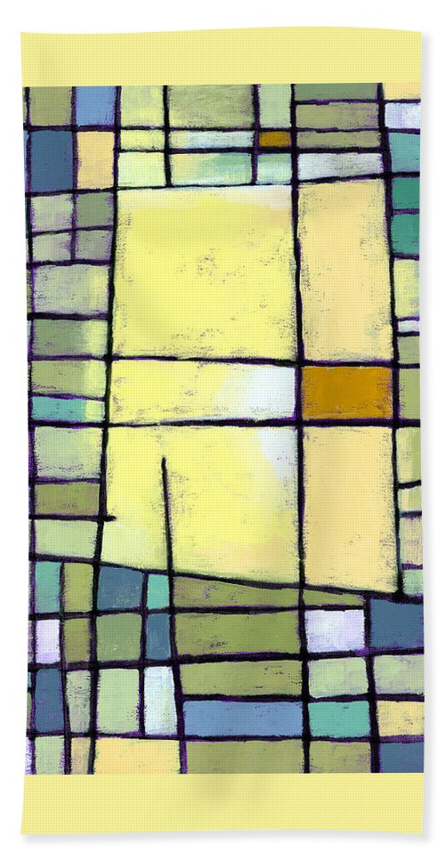 Abstract Bath Towel featuring the painting Lemon Squeeze by Douglas Simonson