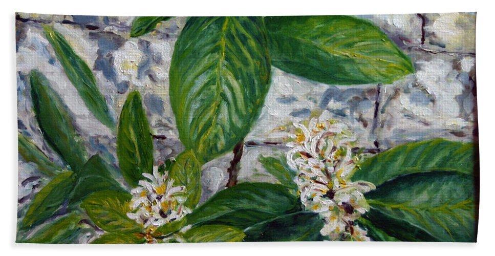 Landscape Bath Towel featuring the painting Lemon Tree by Pablo de Choros
