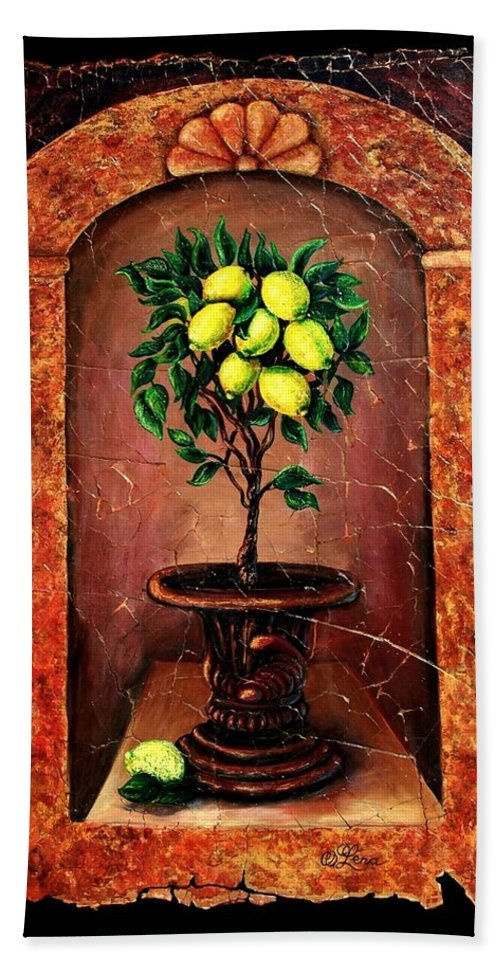 Fresco Antique Bath Sheet featuring the painting Lemon Tree by OLena Art Brand