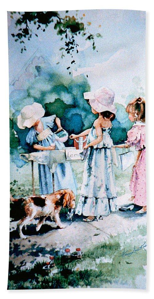 Lemonade Stand Bath Sheet featuring the painting Lemonade Ladies by Hanne Lore Koehler