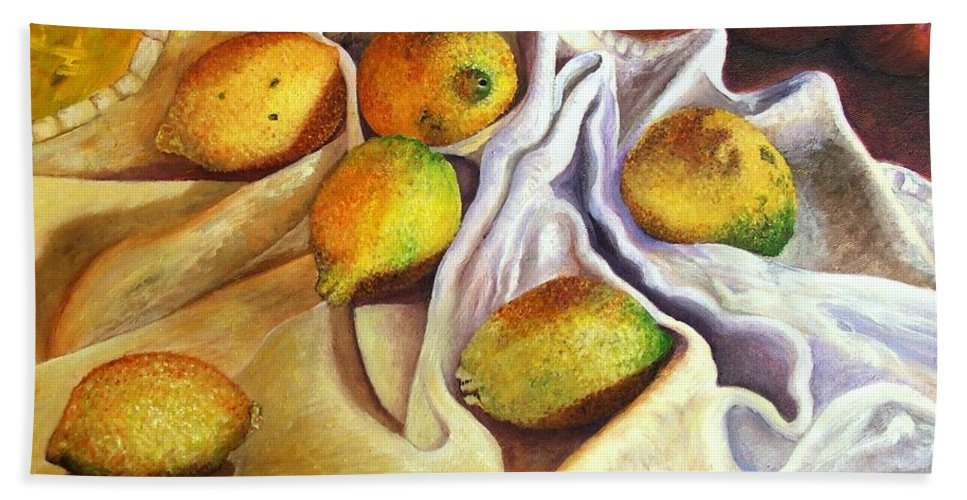 Still Life Bath Sheet featuring the painting Lemons And Linen by Caroline Street