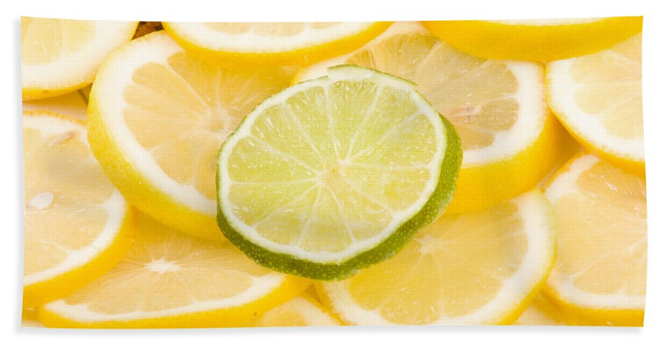 Abstract Bath Sheet featuring the photograph Lemons And One Lime Abstract by James BO Insogna