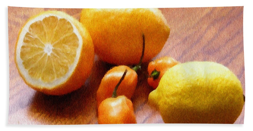 Food Bath Sheet featuring the painting Lemons And Peppers by Jeffrey Kolker