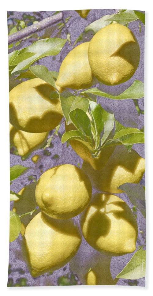 Lemons Bath Sheet featuring the photograph Lemons Purple Pastel by Mikehoward Photography