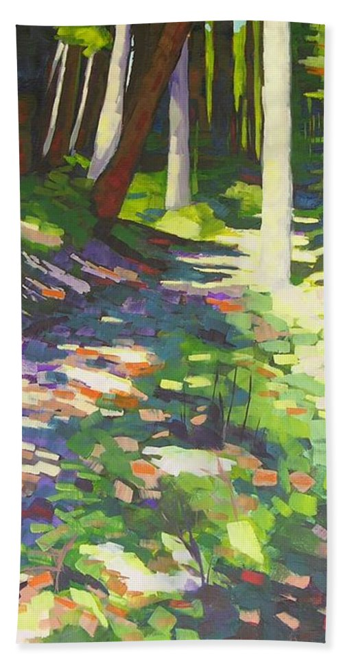 Landscape Hand Towel featuring the painting Lena Lake Trail I by Mary McInnis