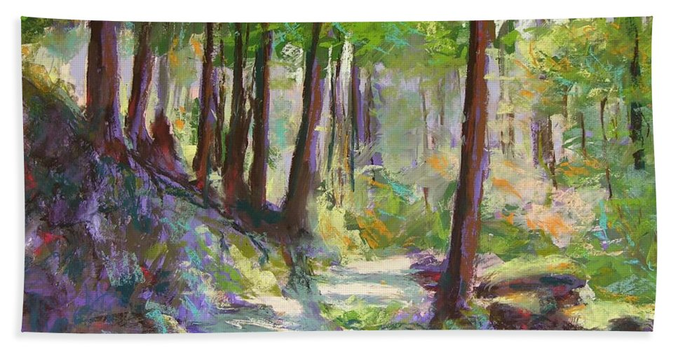 Landscape Bath Towel featuring the painting Lena Lake Trail Shadows by Mary McInnis