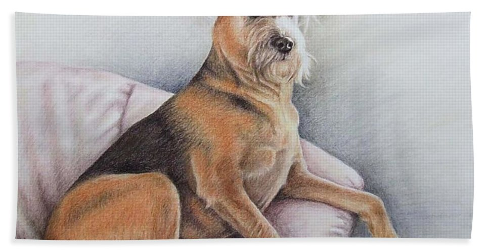 Dog Hand Towel featuring the pastel Lena by Nicole Zeug