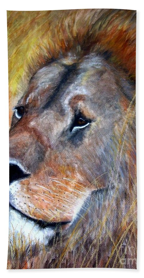 Lion Hand Towel featuring the painting leo by Frances Marino