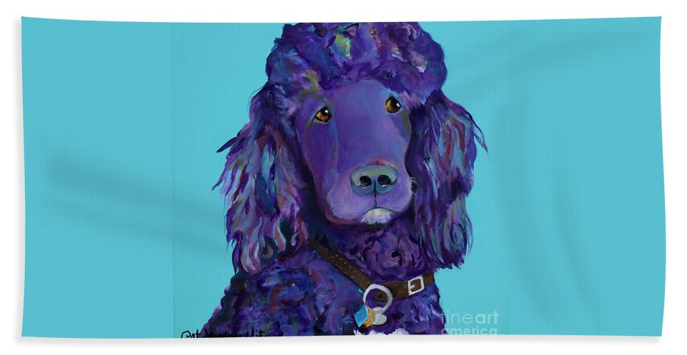 Standard Poodle Hand Towel featuring the painting Leo by Pat Saunders-White