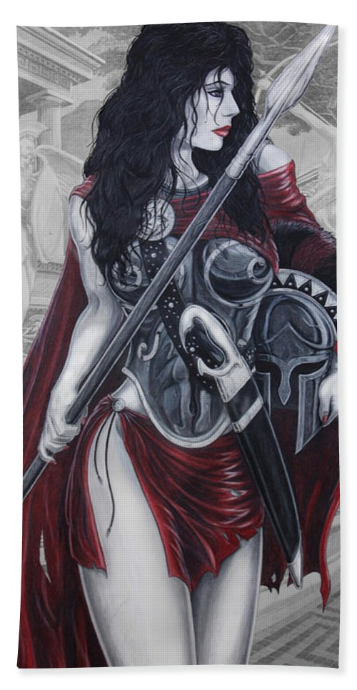 Spartan Hand Towel featuring the drawing Leonadia by Kristopher VonKaufman