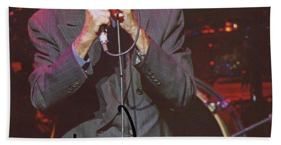 Leonard Cohen Autographed Hand Towel featuring the painting Leonard Cohen Autographed by Pd