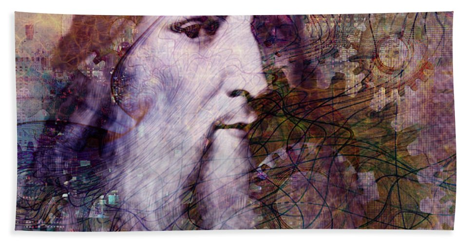 leonardo Da Vinci Bath Sheet featuring the digital art Leonardo by Barbara Berney