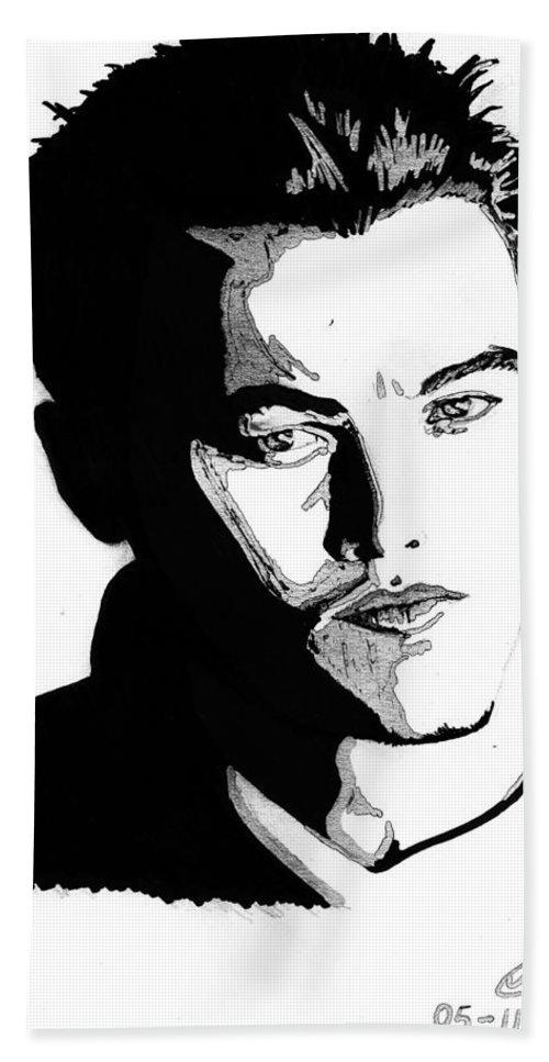 Portrait Hand Towel featuring the mixed media Leonardo Dicaprio Portrait by Alban Dizdari