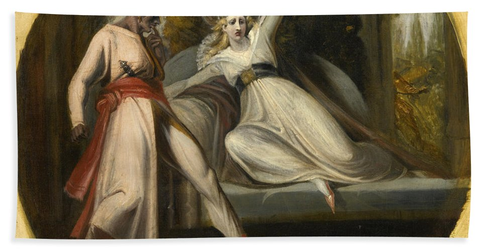 Henry Fuseli Bath Sheet featuring the painting Leonore Discovering The Dagger Left By Alonzo by Henry Fuseli