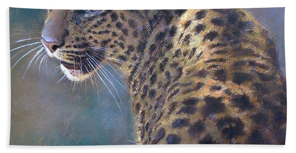 Cats Bath Sheet featuring the pastel Leopard by Iliyan Bozhanov